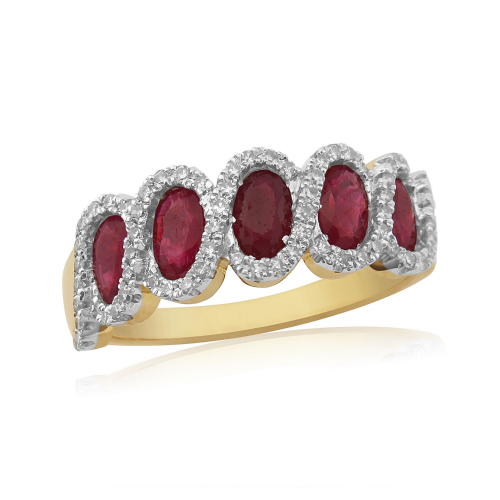 Yellow Gold Ruby And Diamond Fancy Cluster Eternity Ring